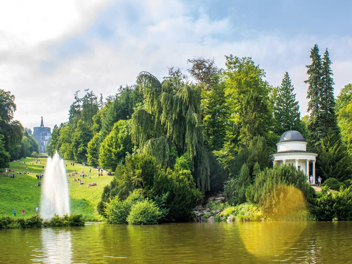 Bergpark mit Fontäne